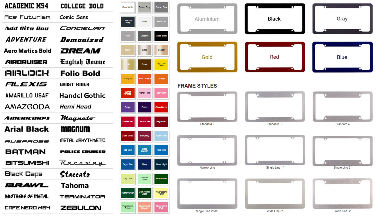 frame-description - Custom Engraved Billet Aluminum License