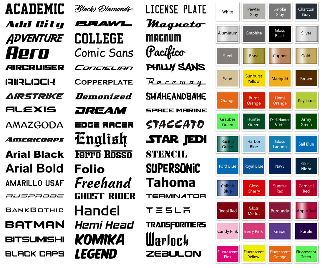 Personalized license plate frames Font and Color Choices | Billet Frames